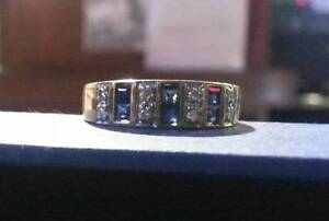 Sapphire Ring with Diamonds 10k Gold $425 .. Valentines is comin