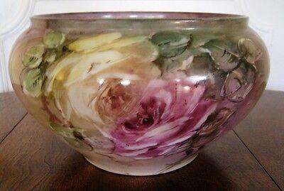 French Limoges Paris Porcelain ? Large Antique Painted Planter or Jardiniere