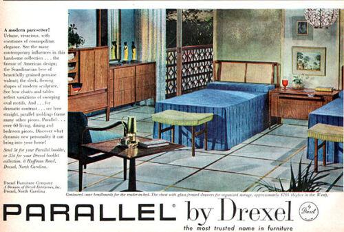 Drexel Parallel Bedroom Furniture Mid Century Modern 1961 Magazine Print Ad