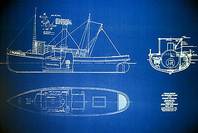 "Vintage Ship Boat Fishing Boat Trawler SS NANUQ 1909 Blueprint 24""x35"" (079)"