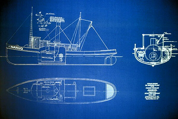 "Fishing Boat Trawler SS NANUQ 1909 Blueprint 24""x35"" (079)"