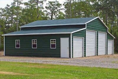 Steel Building Metal Pole Barn 4 Car Garage Workshop Rv Cover Carport 44 X 31