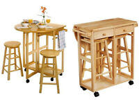 Solid wood kitchen drop leaf side table
