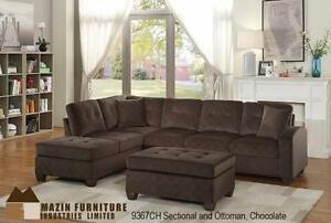 REVERSIBLE SECTIONAL IN A CHOCOLATE FABRIC MODEL 9367 $1,099.00