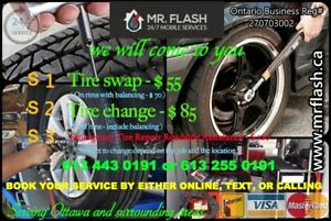 Tire change / swap / balance / repair / MOBILE Services.