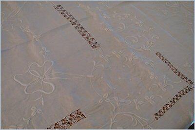 Vintage Linen Embroidered Handmade Banquet Tablecloth Wedding Birthday High Tea