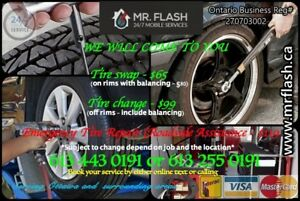 Mobile Tire Change / Repair / Swap / Balance / Services. $65/$99
