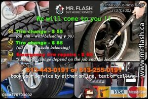 Mobile Tire repair, swap, change and balance