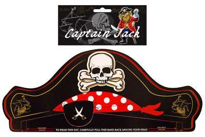 6 Piraten Papier Hüte - Totenkopf Schwarz Pinata Beute / Mitgebseltüte Füller