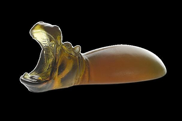 DAUM Hippopotamus Paperweight 03774 new Brand Brown French Crystal Decor animal
