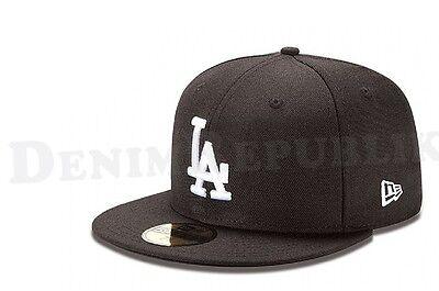 New Era 5950 Los Angeles Dodgers Black White Cap Mlb Baseball Basic La Hat