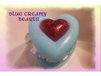 Blue creamy heart cake soap