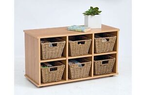 HALL BENCH STORAGE UNIT TO HOLD 6 BASKETS - OAK EFFECT.