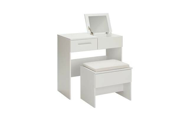 Ex Display Sparkle Dressing Table Stool Mirror White