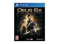 Deus Ex Mankind Divided, PS4, playstation 4, £15 pound only, no offers please