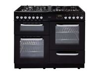 //(%)\ NEW BUSH BLACK DUAL FUEL RANGE COOKER INCLUDES 1 YEAR GUARANTEE