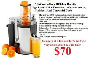 $70 NEW out of box BELLA Breville High Power Juice Juicer Extractor 1,000 watt motor, Stainless Steel