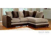 🔶 SALE ON 🔷 Dylan Byron 3 + 2 And Corner Seater Sofa Fabric Jumbo Cord Grey Black Chocolate Cream