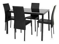 Black Argos dining table and chairs