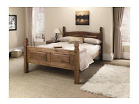 EX DISPLAY Puerto Rico Kingsize Bed Frame - Dark Pine