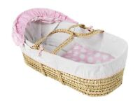 clare de lune pink moses basket with rocking stand