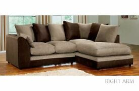 💥BLACK/GREY OR BROWN/BEIGE!! BRAND NEW JUMBO CORD BYRON CORNER / 3+2 SOFA SET -BEST SELLING BRAND
