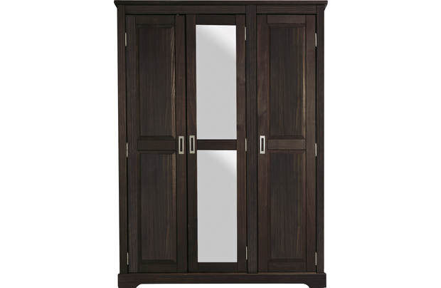 Mendoza 3 Door Mirrored Wardrobe -Oak Stain