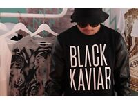 Black Kaviar Sweatshirt with Leather Sleeves - Size L