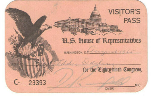 VTG 1965 U.S. HOUSE OF REPRESENTATIVE VISITOR