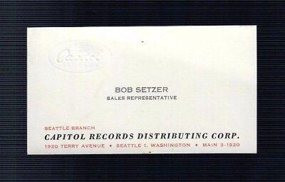 Vintage CAPITOL RECORDS BUSINESS CARD Ad Bob Setzer Sales Rep Seattle WA music (Music Record Sales)