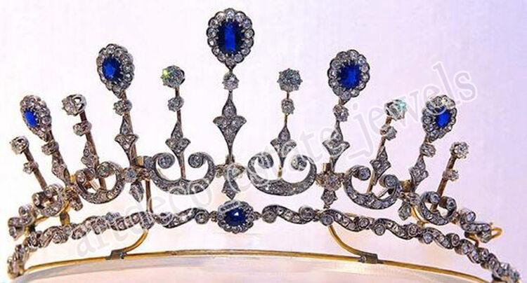 12.16ct Rose Cut Diamond Antique Look 925 Silver Wedding Sapphire Gemstone Tiara
