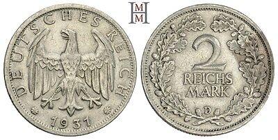HMM - Weimarer Republik 2 Reichsmark 1931 D Kursmünze J. 320 - 160607005