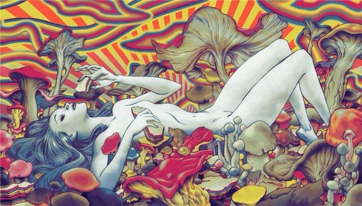 "Trippy Psychedelic Art Fabric Poster  21x 13""  T115"