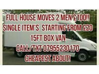 Man with a Van House Moves,single Items **CHEAPEST ON GUMTREE** No job too big. Cheaper than a skip
