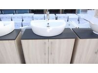 NEW FLOOR STANDING TWO DOOR OREGON OAK COUNTER TOP SINK UNIT WITH SINK AND TAP INCLUDED ,NEW