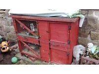 Double store hand made hutch with removable floor and indoor cage and more
