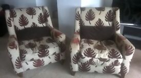 Pair of DFS Armchairs with leaf print