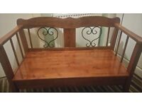 beautiful teak and varnished indoor bench with storage