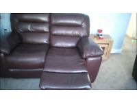 Two seater electric recliner leather sofa