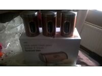 bread bin and canister set in bronze brand new