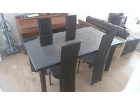 Leather table with glass top & chairs for sale in vgc