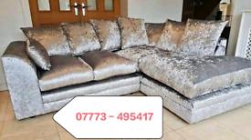 ☑️☑️ Crushed Velvet Corner Or 3+2 seater Sofa