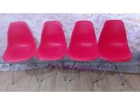 Set of 4 Retro Designer Plastic Office Lounge Kitchen Dining Chair High Quality very good condition