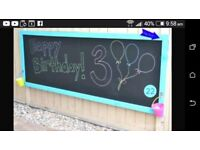 Lovely wall mounted chalkboard. For use outdoors or indoors