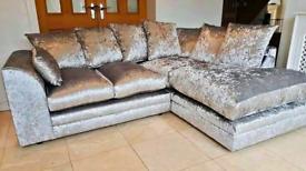 ☑️☑️ Crushed Velvet Corner Or 3+2 seater Sofa Sale ☑️☑️