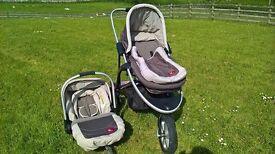 Mothercare Quantum Travel system with universal raincover and Lascal maxi buggy board