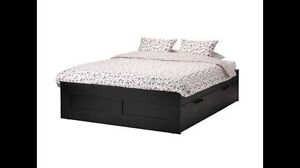 Ikea BRIMNES bedframe (with storage) and mattress - double