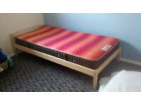 Excellent condition solid pine single bed with slumberland mattress