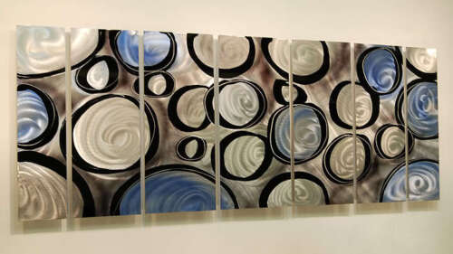 Statements2000 3D Metal Wall Art Painting Modern Silver Blue Decor by Jon Allen