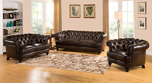 Randall Distressed Brown Tufted Top Grain leather couch set